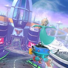 Rosalina performs a trick while approaching the finish line.