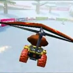 Donkey Kong gliding on DS DK Pass in <i>Mario Kart 7</i>