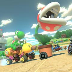 Yoshi racing at the track.