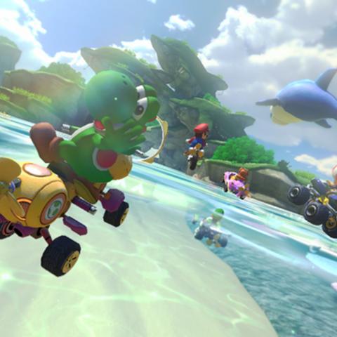 Yoshi racing on the track.