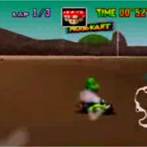 Yoshi racing on Koopa Troopa Beach.