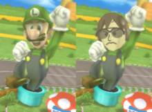 Some comparison image of Luigi Circuit from Mario Kart Wii between playing as a Mario series character and as a Mii.