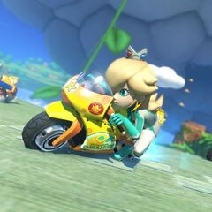 Rosalina racing on the track.