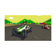 Luigi racing in the <b>Classic Dragster</b> at <a href=