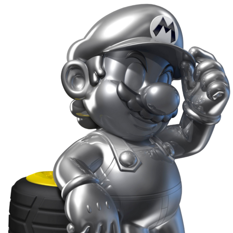 Metal Mario with some tires.