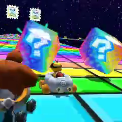 Lakitu and Donkey Kong racing on the track.