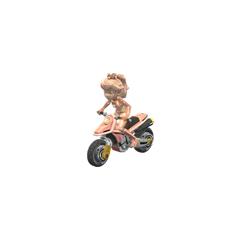 On her bike.