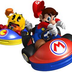 Mario vs. Pac-man Mario Kart GP artwork.