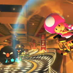 Toadette, approaching giant Bouncing Notes.