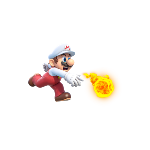 Fire Mario seems surprised at shooting fire..