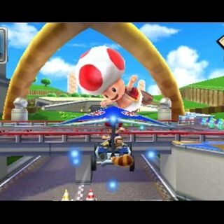 Toad gliding on his own course, while having a Super Leaf item equipped.