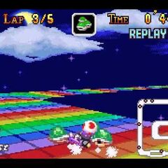 Toad on <small>SNES</small> Rainbow Road.