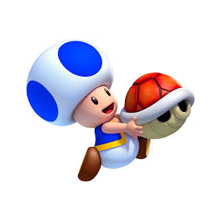 Toad holding a red shell.