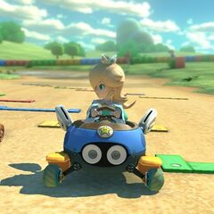 Rosalina and Lakitu approach the course's finish line.