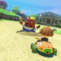 Mr. Resetti appears near the end of the track.