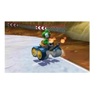 Yoshi near the mud from Dino Dino Jungle as seen in Mario Kart 7.