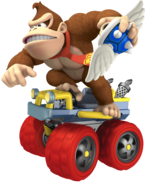 Donkey Kong With Winged Spiny Shell - Mario Kart 7 Artwork