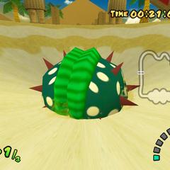 The Big Piranha Plant lives inside the quicksand pit.