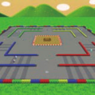 A shot of the whole stage in <i>Mario Kart 7</i>.