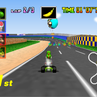 Yoshi racing on Luigi Raceway.