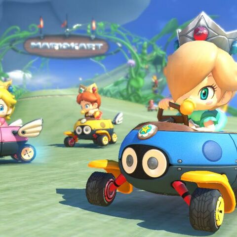 Baby Rosalina at the start of the track.