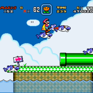 A <i>Super Mario World</i> screenshot featuring several Dolphins.