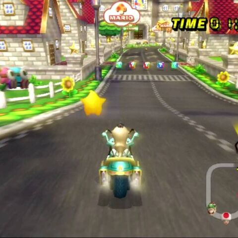 Rosalina racing on the track in 1st place.