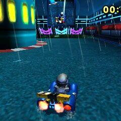 Metal Mario racing on the track.