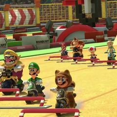 Several characters preparing themselves as the race starts.