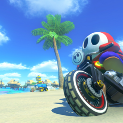 Shy Guy racing on the track.