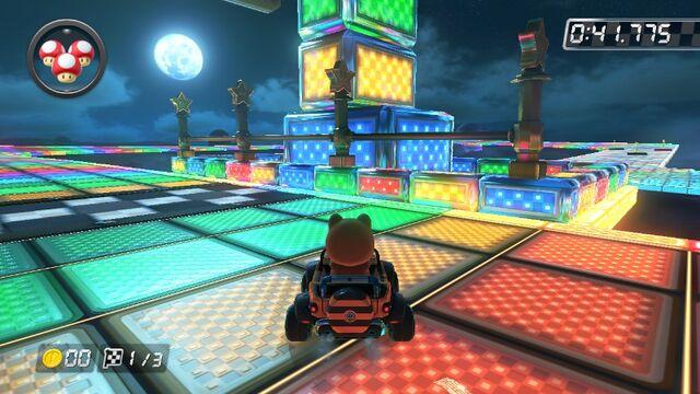 File:SNES Rainbow Road (Mario Kart 8) 1.jpg