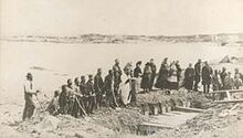Burial service of victims of wreck of SS Atlantic, at Lower Prospect, Halifax County, Nova Scotia, Canada, April 1873