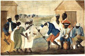 Slave dance to banjo, 1780s