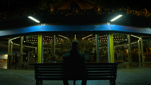 Castle stares at empty carousel