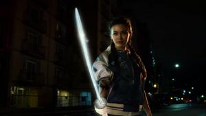 Colleen lights up sword