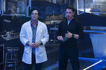 Robert Bruce Banner (Earth-199999) and Anthony Stark (Earth-199999) from Avengers Age of Ultron 001