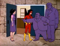 Both Jessica Drew and Spider-Woman in front of Kingpin