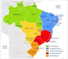 Brazil Map Of 5-Five Regions