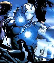 Antonio Stark (Earth-1610) and Iron Man Armor (New Ultimates) (Earth-1610) from Ultimate Comics New Ultimates Vol 1 1 001