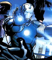 Antonio Stark (Earth-1610) and Iron Man Armor (New Ultimates) (Earth-1610) from Ultimate Comics New Ultimates Vol 1 1 001