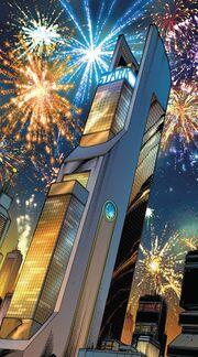 Torre Stark (Columbus Circle, Reconstruída) de Avante, Vingadores Vol 2 1 001
