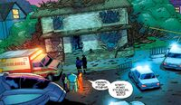 Ben Grimm, Johnny and Sue Storm in front of destroyed Richards' home Earth-1610