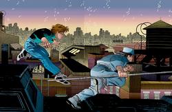 Matthew Murdock (Tierra-616) entrenando con Stick 001
