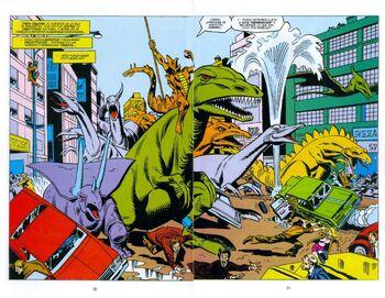 Stegron el Hombre Dinosaurio y su Horda de Dinosaurios en Brodway