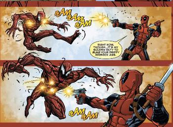 Deadpool versus Carnage issue 1 Deadpool shoots