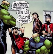 Theodore Altman (Earth-616), William Kaplan (Earth-616), Dorrek VIII (Earth-721) and William Kaplan (Earth-721)