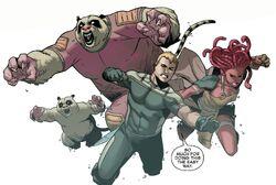 Eugene Thompson (Terra-616), Pik Rollo (Terra-616), Hilla (Terra-616) e Iqa (Terra-616) em Venom Cavaleiro Espacial Vol 1 10 001