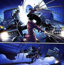 Юрико Ояма (1610) разрезает автомобиль из Ultimate X-Men Vol 1 59