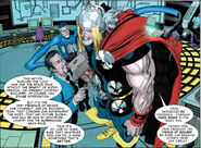 Mister Fantastic and Tony Stark meet with Thor from Thor First Thunder Vol 1 4