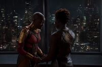 Okoye and Nakia after Killmonger's coronation Earth-199999